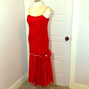 Flapper roaring 20's dress! Red satin with jazz